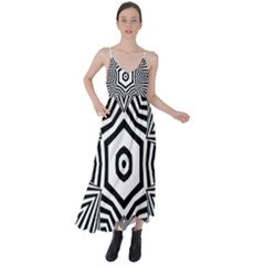 Black And White Line Art Stripes Pattern Tie Back Maxi Dress by SpinnyChairDesigns