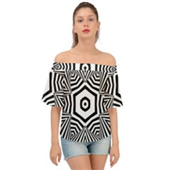 Black And White Line Art Stripes Pattern Off Shoulder Short Sleeve Top by SpinnyChairDesigns