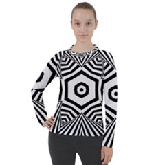 Black And White Line Art Stripes Pattern Women s Pique Long Sleeve Tee