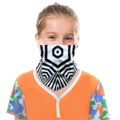 Black And White Line Art Stripes Pattern Face Covering Bandana (kids) by SpinnyChairDesigns