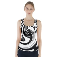 Black And White Swirl Spiral Swoosh Pattern Racer Back Sports Top