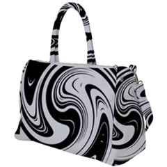 Black And White Swirl Spiral Swoosh Pattern Duffel Travel Bag