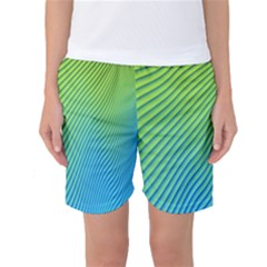 Blue Green Abstract Stripe Pattern  Women s Basketball Shorts