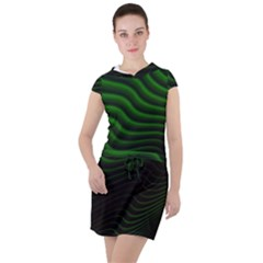 Black And Green Abstract Stripes Gradient Drawstring Hooded Dress by SpinnyChairDesigns