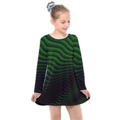 Black And Green Abstract Stripes Gradient Kids  Long Sleeve Dress