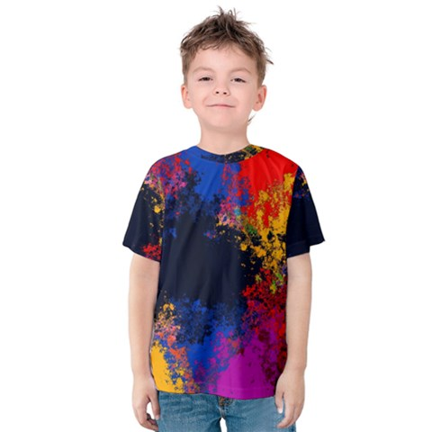 Colorful Paint Splatter Texture Red Black Yellow Blue Kids  Cotton Tee by SpinnyChairDesigns