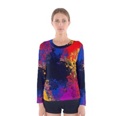 Colorful Paint Splatter Texture Red Black Yellow Blue Women s Long Sleeve Tee