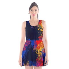 Colorful Paint Splatter Texture Red Black Yellow Blue Scoop Neck Skater Dress by SpinnyChairDesigns