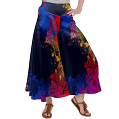 Colorful Paint Splatter Texture Red Black Yellow Blue Satin Palazzo Pants by SpinnyChairDesigns