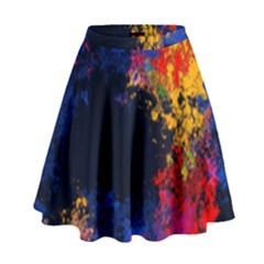 Colorful Paint Splatter Texture Red Black Yellow Blue High Waist Skirt by SpinnyChairDesigns