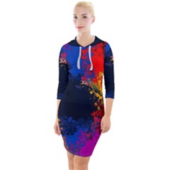 Colorful Paint Splatter Texture Red Black Yellow Blue Quarter Sleeve Hood Bodycon Dress