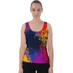Colorful Paint Splatter Texture Red Black Yellow Blue Velvet Tank Top by SpinnyChairDesigns