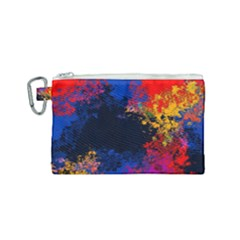 Colorful Paint Splatter Texture Red Black Yellow Blue Canvas Cosmetic Bag (small) by SpinnyChairDesigns