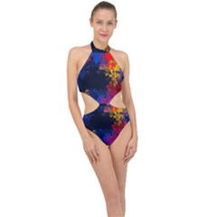 Colorful Paint Splatter Texture Red Black Yellow Blue Halter Side Cut Swimsuit by SpinnyChairDesigns
