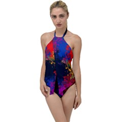 Colorful Paint Splatter Texture Red Black Yellow Blue Go With The Flow One Piece Swimsuit