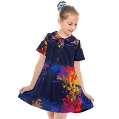 Colorful Paint Splatter Texture Red Black Yellow Blue Kids  Short Sleeve Shirt Dress by SpinnyChairDesigns