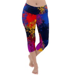 Colorful Paint Splatter Texture Red Black Yellow Blue Lightweight Velour Capri Yoga Leggings by SpinnyChairDesigns