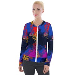 Colorful Paint Splatter Texture Red Black Yellow Blue Velour Zip Up Jacket by SpinnyChairDesigns