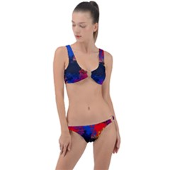 Colorful Paint Splatter Texture Red Black Yellow Blue Ring Detail Crop Bikini Set