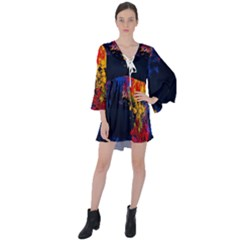 Colorful Paint Splatter Texture Red Black Yellow Blue V-neck Flare Sleeve Mini Dress by SpinnyChairDesigns