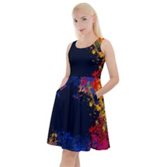 Colorful Paint Splatter Texture Red Black Yellow Blue Knee Length Skater Dress With Pockets by SpinnyChairDesigns