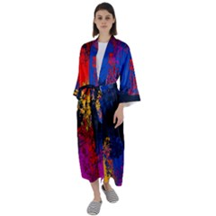 Colorful Paint Splatter Texture Red Black Yellow Blue Maxi Satin Kimono by SpinnyChairDesigns