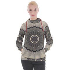 Beige Kaleidoscope Mandala Arabesque Pattern Women s Hooded Pullover by SpinnyChairDesigns