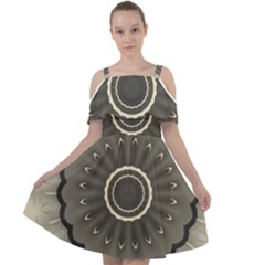 Beige Kaleidoscope Mandala Arabesque Pattern Cut Out Shoulders Chiffon Dress by SpinnyChairDesigns