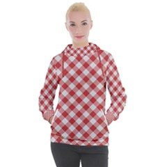 Picnic Gingham Red White Checkered Plaid Pattern Women s Hooded Pullover