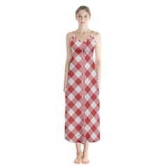 Picnic Gingham Red White Checkered Plaid Pattern Button Up Chiffon Maxi Dress by SpinnyChairDesigns