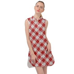 Picnic Gingham Red White Checkered Plaid Pattern Sleeveless Shirt Dress by SpinnyChairDesigns
