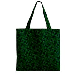 Green Intricate Pattern Zipper Grocery Tote Bag