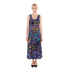 Multicolored Abstract Art Pattern Sleeveless Maxi Dress by SpinnyChairDesigns