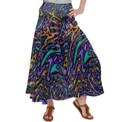 Multicolored Abstract Art Pattern Satin Palazzo Pants by SpinnyChairDesigns