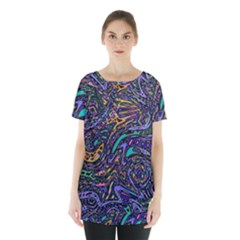 Multicolored Abstract Art Pattern Skirt Hem Sports Top