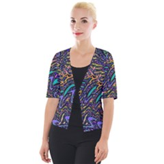 Multicolored Abstract Art Pattern Cropped Button Cardigan by SpinnyChairDesigns