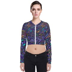 Multicolored Abstract Art Pattern Long Sleeve Zip Up Bomber Jacket by SpinnyChairDesigns