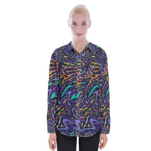Multicolored Abstract Art Pattern Womens Long Sleeve Shirt by SpinnyChairDesigns