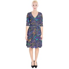 Multicolored Abstract Art Pattern Wrap Up Cocktail Dress by SpinnyChairDesigns
