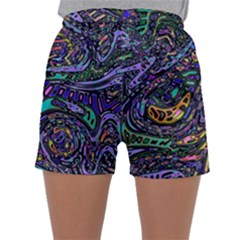 Multicolored Abstract Art Pattern Sleepwear Shorts by SpinnyChairDesigns