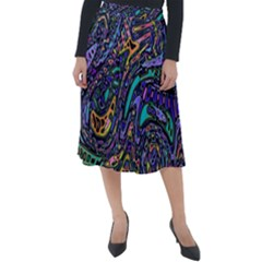 Multicolored Abstract Art Pattern Classic Velour Midi Skirt  by SpinnyChairDesigns