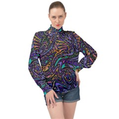 Multicolored Abstract Art Pattern High Neck Long Sleeve Chiffon Top by SpinnyChairDesigns