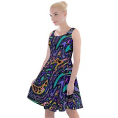 Multicolored Abstract Art Pattern Knee Length Skater Dress by SpinnyChairDesigns