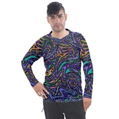 Multicolored Abstract Art Pattern Men s Pique Long Sleeve Tee