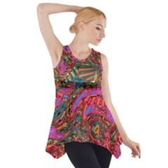 Abstract Art Multicolored Pattern Side Drop Tank Tunic by SpinnyChairDesigns