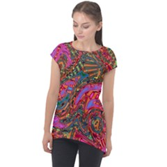 Abstract Art Multicolored Pattern Cap Sleeve High Low Top by SpinnyChairDesigns