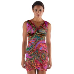 Abstract Art Multicolored Pattern Wrap Front Bodycon Dress by SpinnyChairDesigns