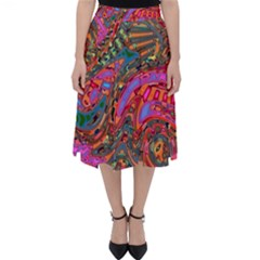 Abstract Art Multicolored Pattern Classic Midi Skirt by SpinnyChairDesigns
