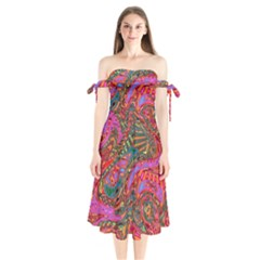 Abstract Art Multicolored Pattern Shoulder Tie Bardot Midi Dress by SpinnyChairDesigns