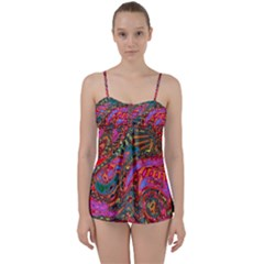 Abstract Art Multicolored Pattern Babydoll Tankini Set by SpinnyChairDesigns